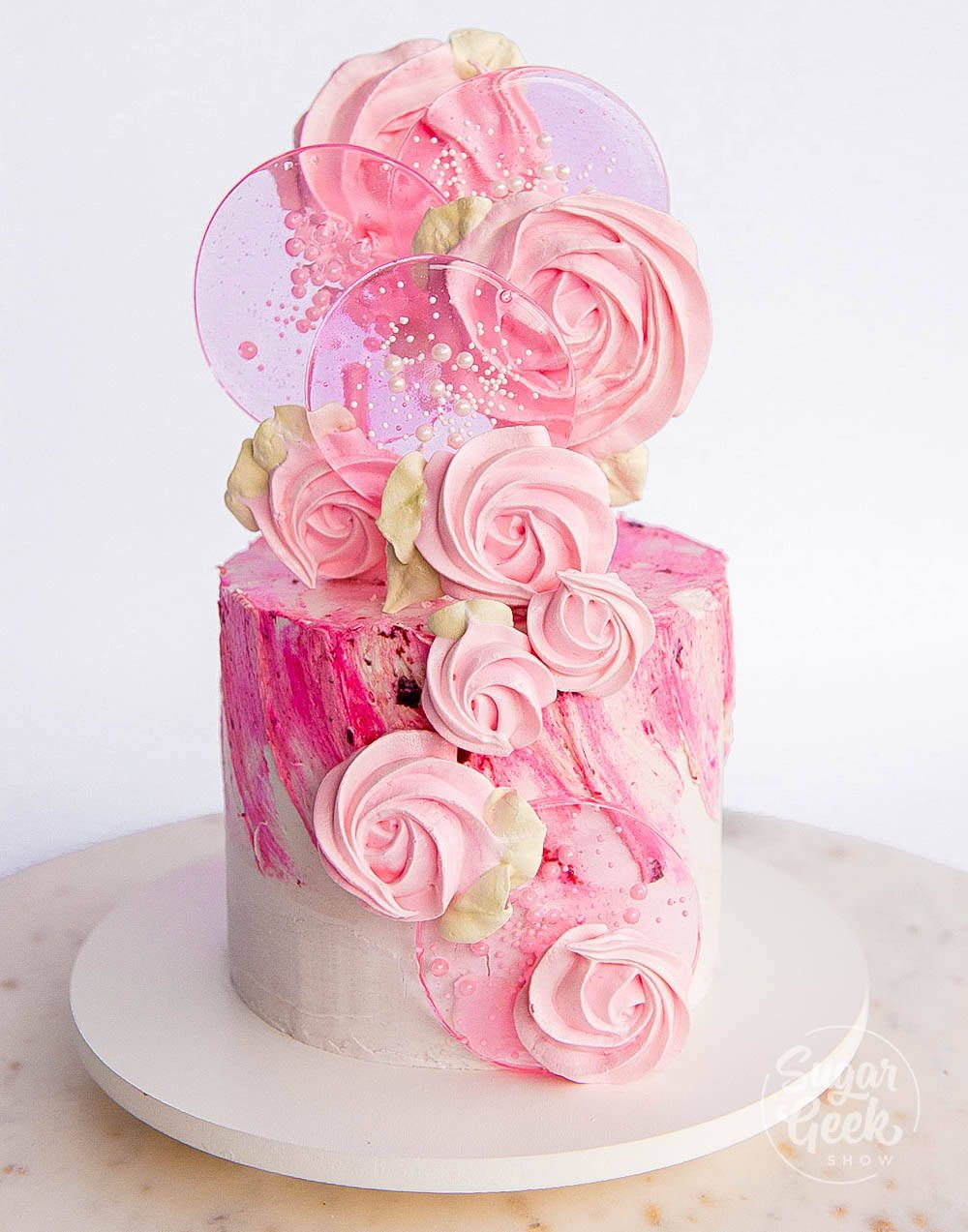 Photo of Spring Pop Cake (Meringue and Lollipop)   Sugar Geek Show