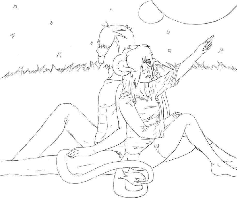 anime couple lineart 03 by death tendency on deviantart couples