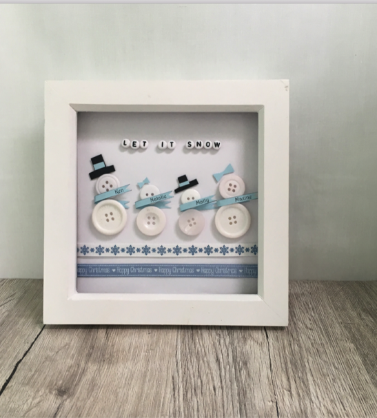 Framed picture snowman button family