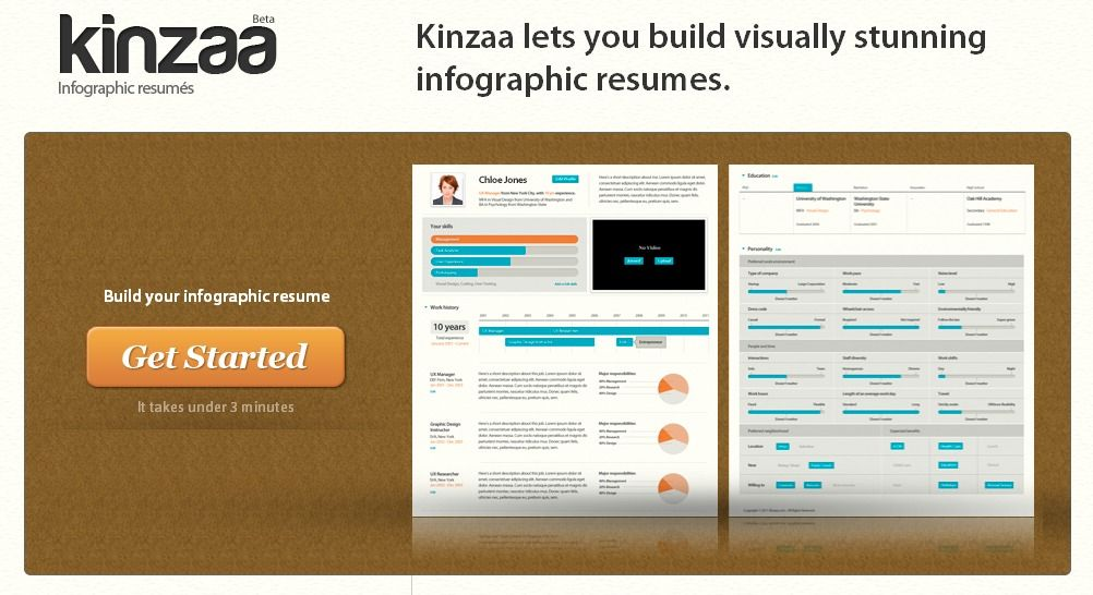 Kinzaa is a resume builder that allows you to create great-looking - infographic resume builder