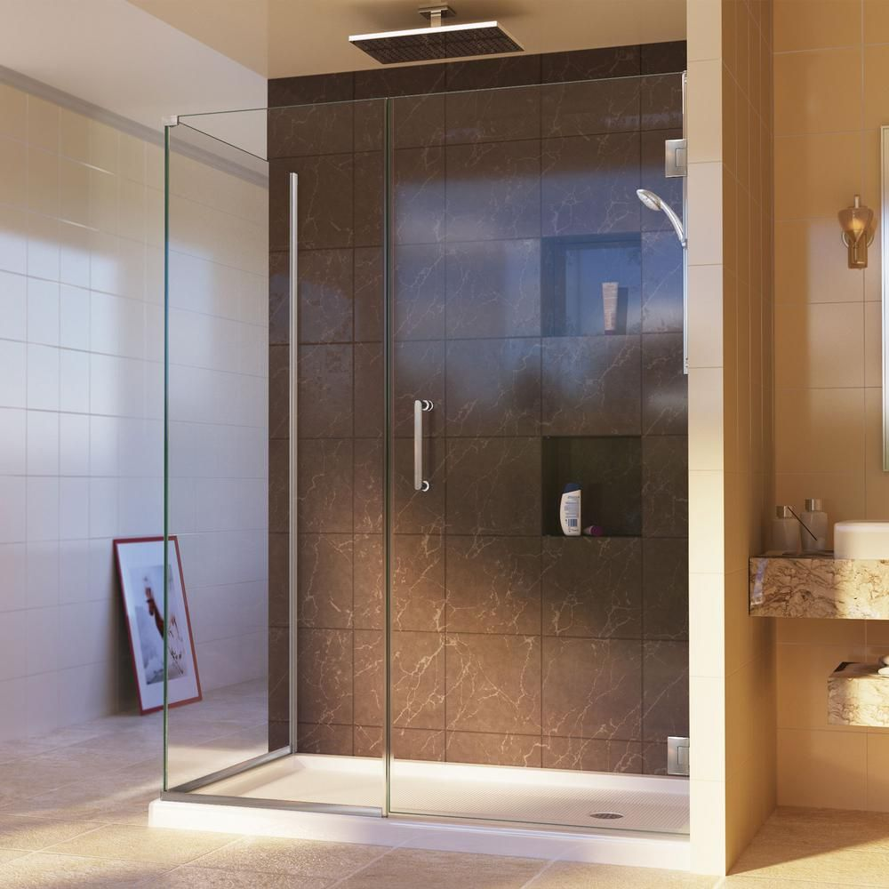 Dreamline Unidoor Plus 39 5 In W X 34 3 8 In D X 72 In H Frameless Hinged Shower Enclosure In Brushed Nickel Shen 24395340 04 The Home Depot Corner Shower Enclosures Shower Doors Frameless Shower Enclosures