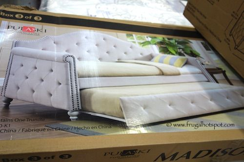 costco has the pulaski furniture madison upholstered daybed in stock for a limited time this twin daybed has a pullout trundle that