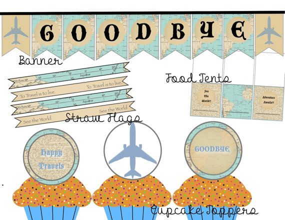 Goodbye Party Printable Package, World Travel Themed, Instant - invitation templates for farewell party