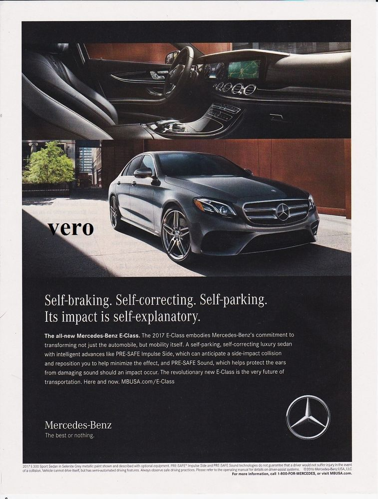 Mercedes Benz 2017 E300 Sports Sedan 2016 Magazine Ad Print Page