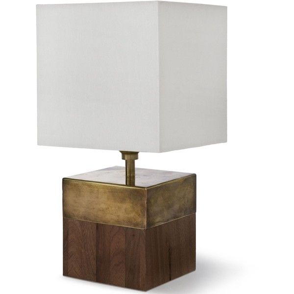 Vega Rustic Lodge Oak Cube Brass Table Lamp (52 KWD) ❤ liked on Polyvore featuring home, lighting, table lamps, cord lights, brass candelabra, square table lamp, white shade and brass table lamps
