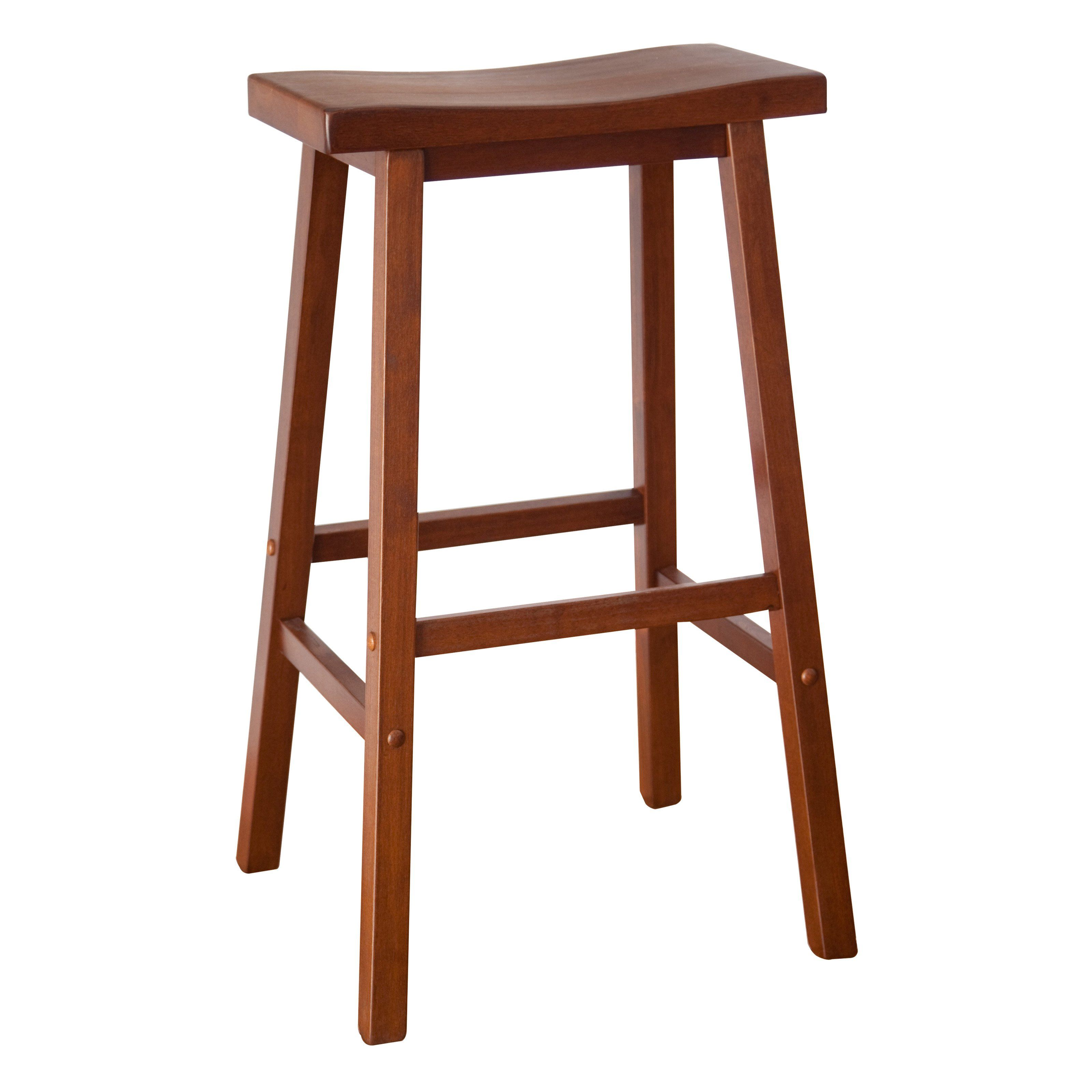 Winsome Wood 29 Inch Saddle Seat Stool Walnut Pack Of 2