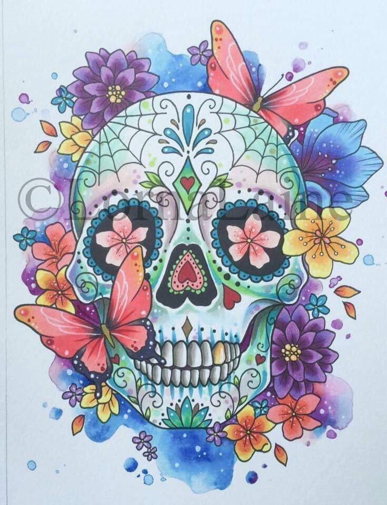 day of the dead art - Google Search  Crânes peints, Dessin de