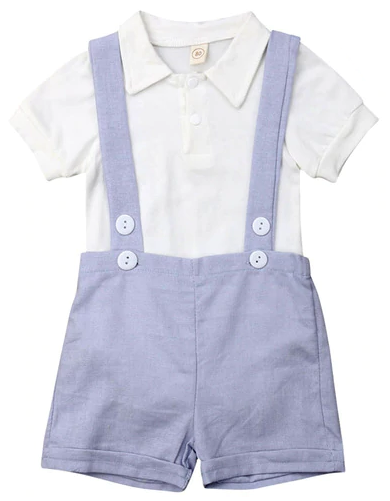 0b72e8d543358 Suspender Polo Set | Trendy Sets | Blue suspenders, Baby boy outfits ...