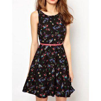 $22.10 Sleeveless Fashionable Style Scoop Neck Floral Print Color Block  Zipper Design Chiffon Women's Dress (