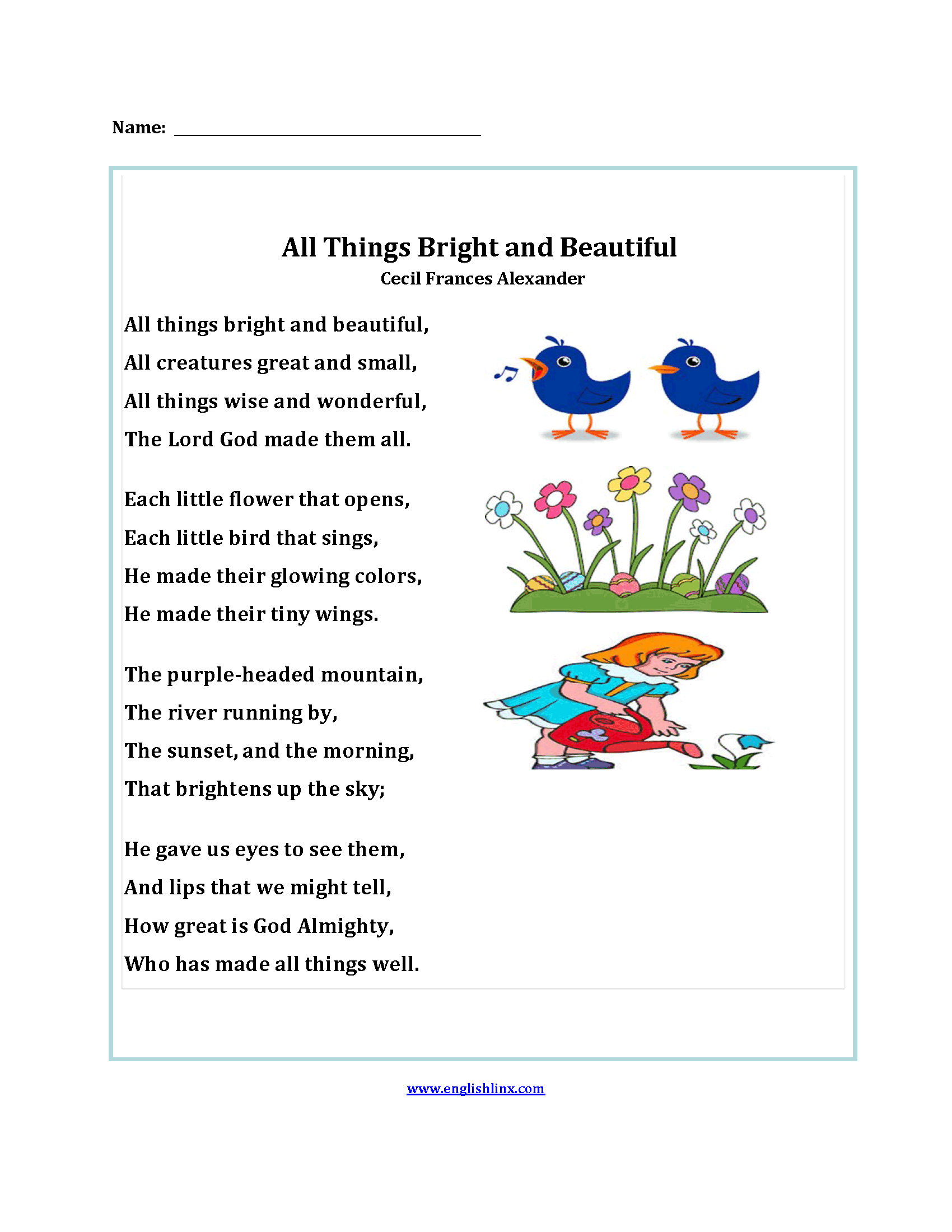 All Things Bright And Beautiful Poetry Worksheets