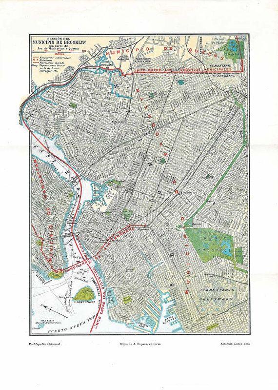 brooklyn vintage ciy plan street map 1920s new york by carambas sold