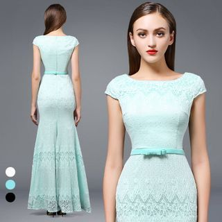 Buy AIXI Cap-Sleeve Lace Mermaid Evening Gown at YesStyle.com! Quality products…