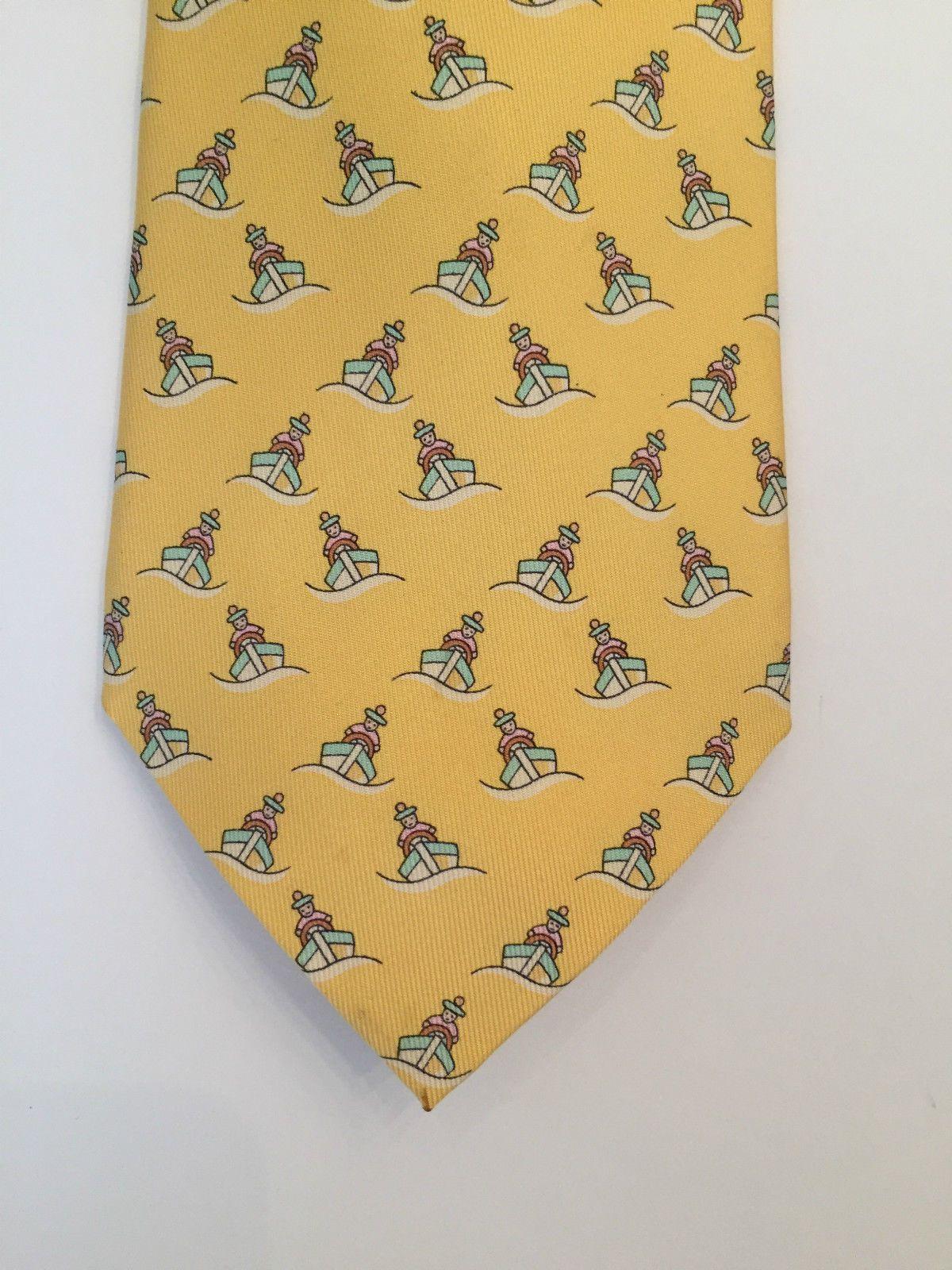 50f0fc8baf44 Hermes Tie Yellow w Sailors in Boats   eBay   Tie Design   Tie ...
