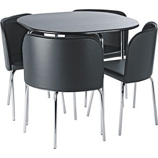 Buy Hygena Amparo Black Dining Table And 4 Black Chairs At Argos Awesome Space Saver Dining Room Sets Review