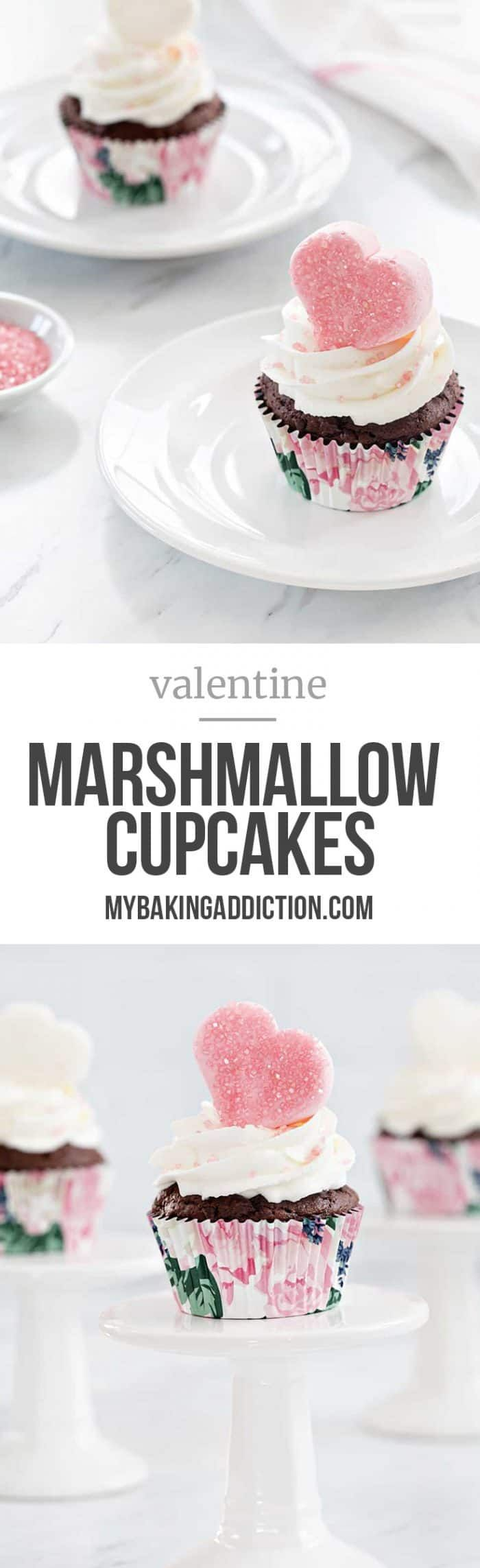 Valentine Marshmallow Cupcakes are a simple and delicious dessert for Valentine's Day. Sparkly marshmallow hearts makes them love-ly! #cupcakes #marshmallow