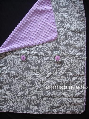Carseat Canopy Cover Belle Grey White Purple Minky Dot Baby Blanket Sweet