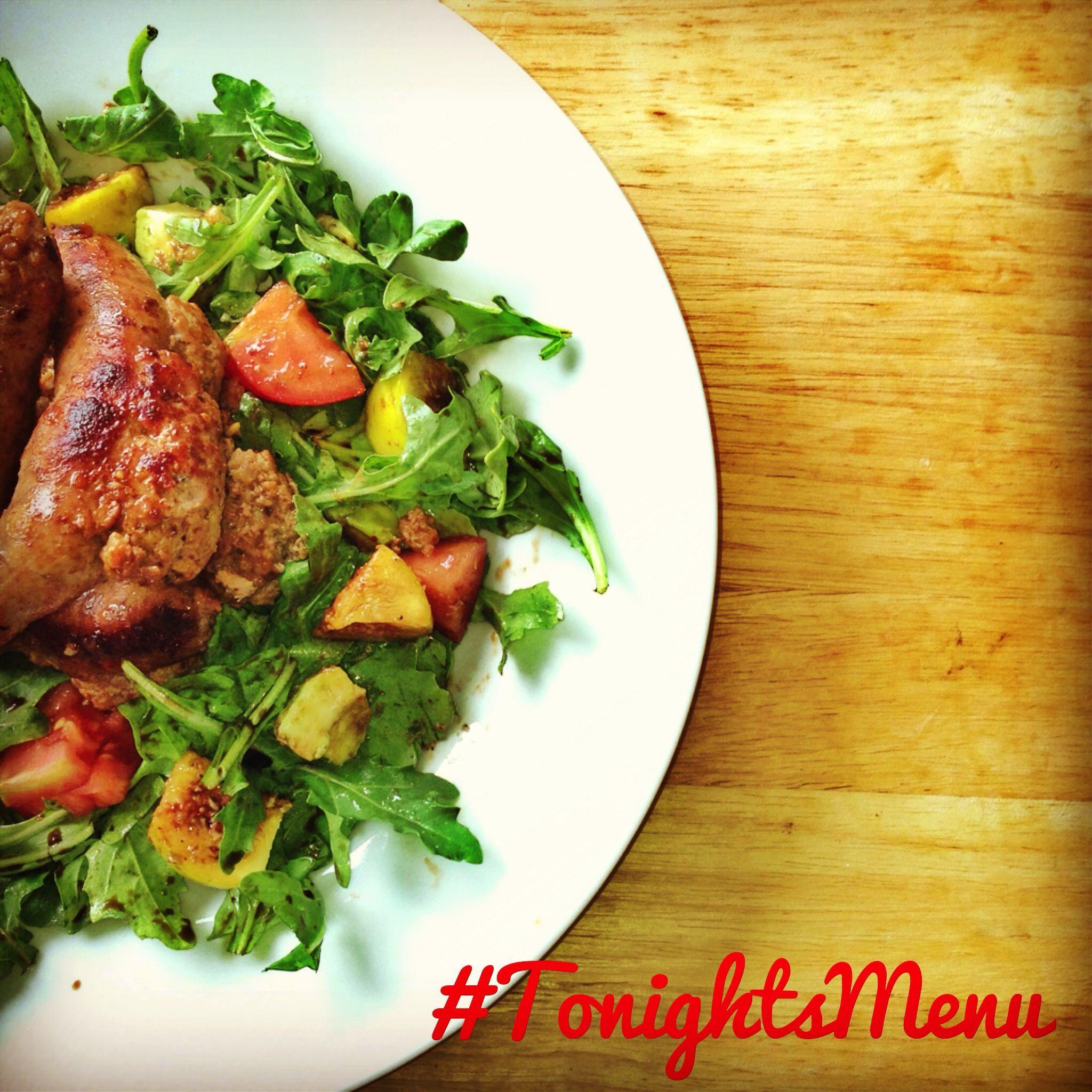 On #TonightsMenu we've got Italian sausage atop fig and avocado salad!  Tänä iltana syödään Italialaista makkara ja viikuna/avokado salaatti!  #food #dinner #foodpic #cooking
