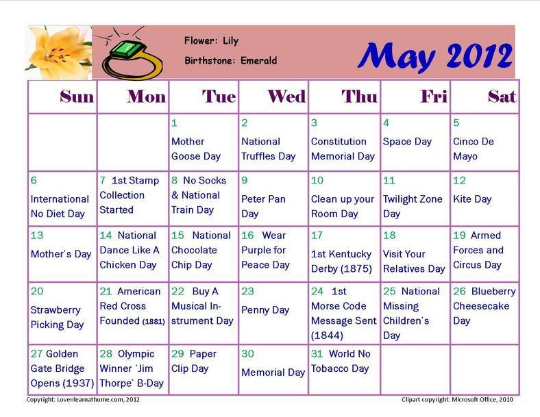 May Holiday Activity Calendar Interesting Pinterest - activity calendar