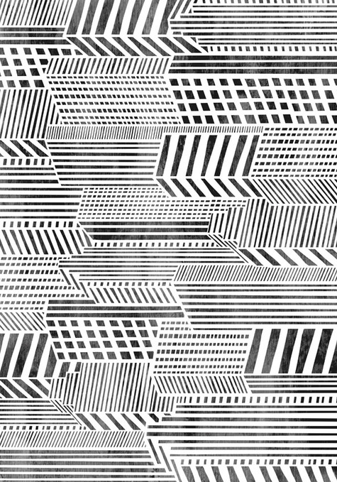 Black And White Linear City Pattern Wall Art Designs Pattern