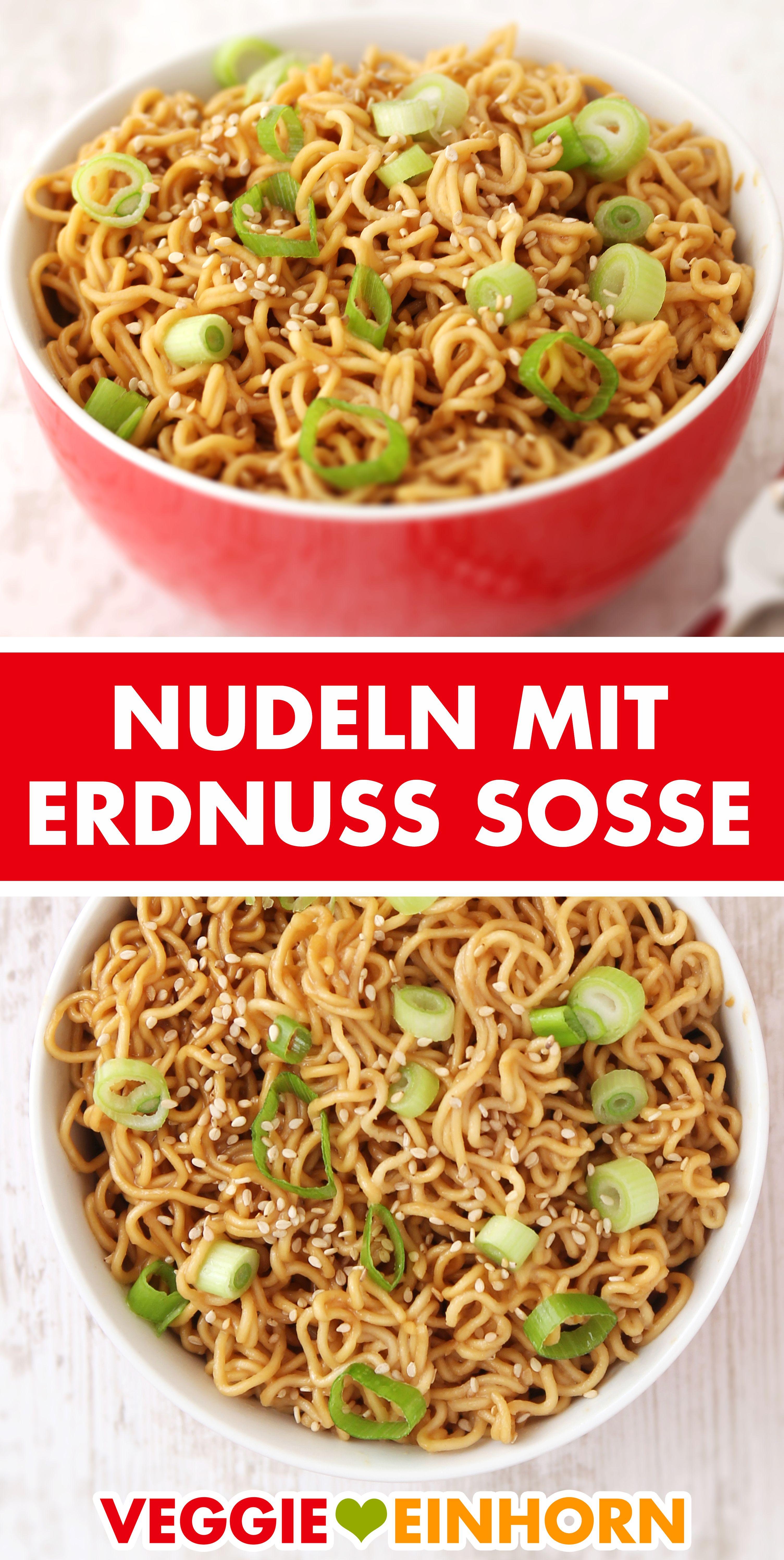 Einfache asiatische Nudeln mit Erdnuss Soße selber machen Schnell fertig in 15 Minuten!