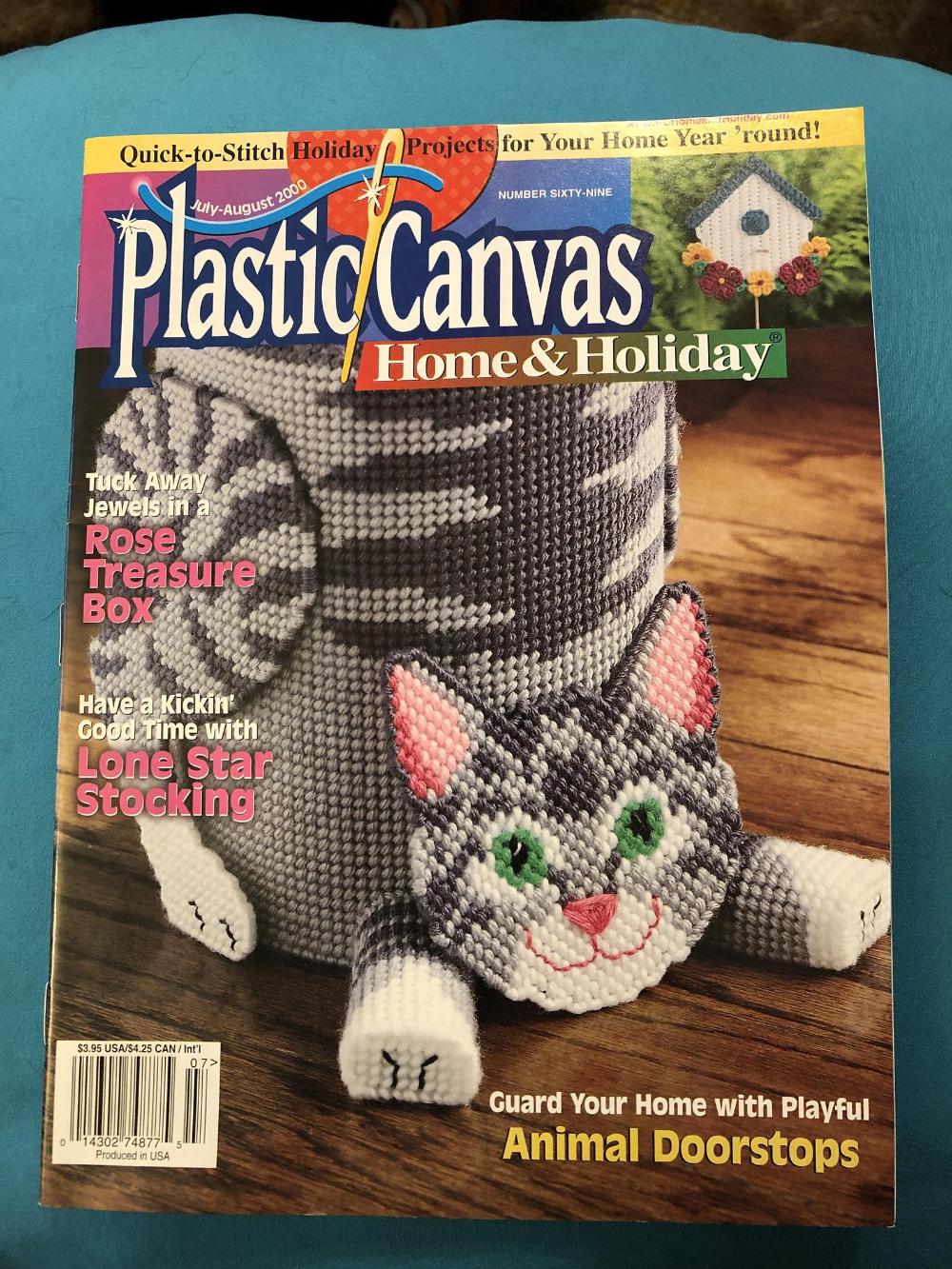 July 2000 Plastic Canvas Home /& Holiday No 69 Rose Treasure Box Lone Star Stocking