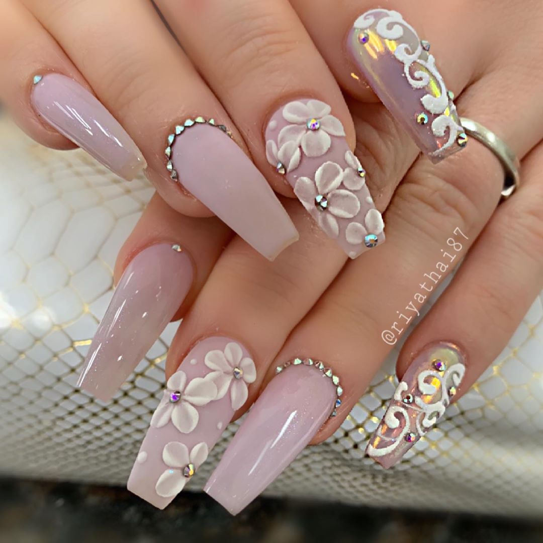 Pin By Raquel On Coffin Nails In 2020 3d Flower Nails Nail Art Easy Nail Art