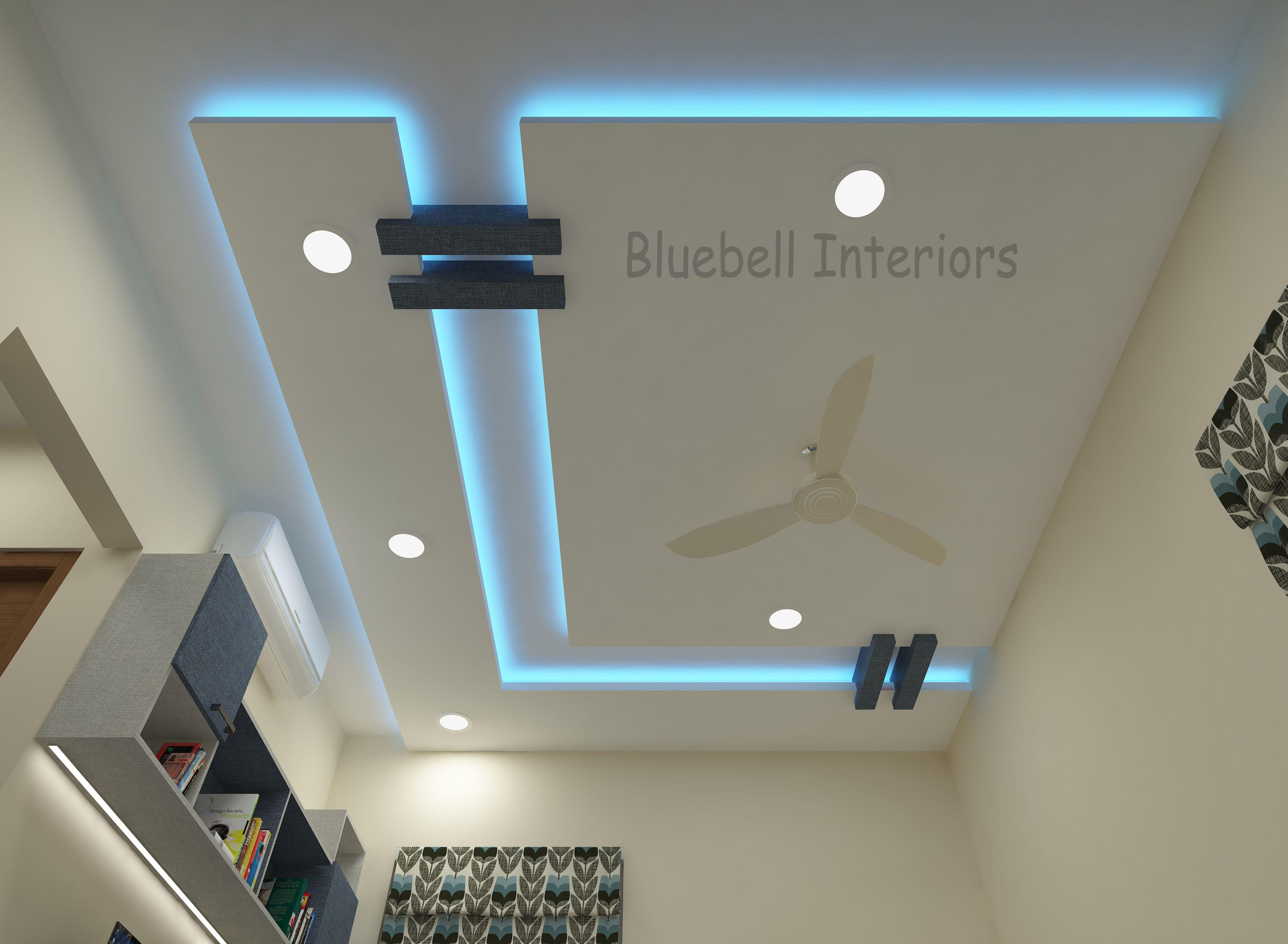 L Shape False Ceiling Blue Conceal Light Wooden Beams In Ceiling Ceiling Design Bedroom Ceiling Design Modern Ceiling Design Living Room