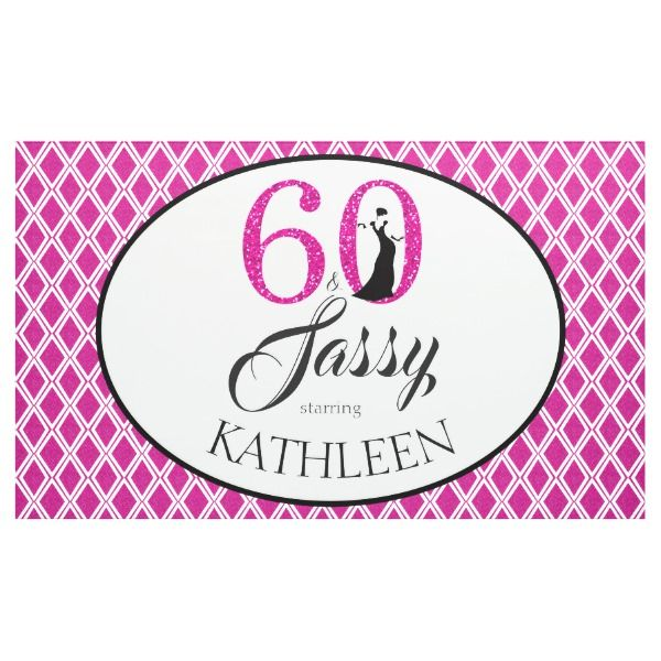 60 And Sassy Custom 60th Birthday Pink Glitter Banner