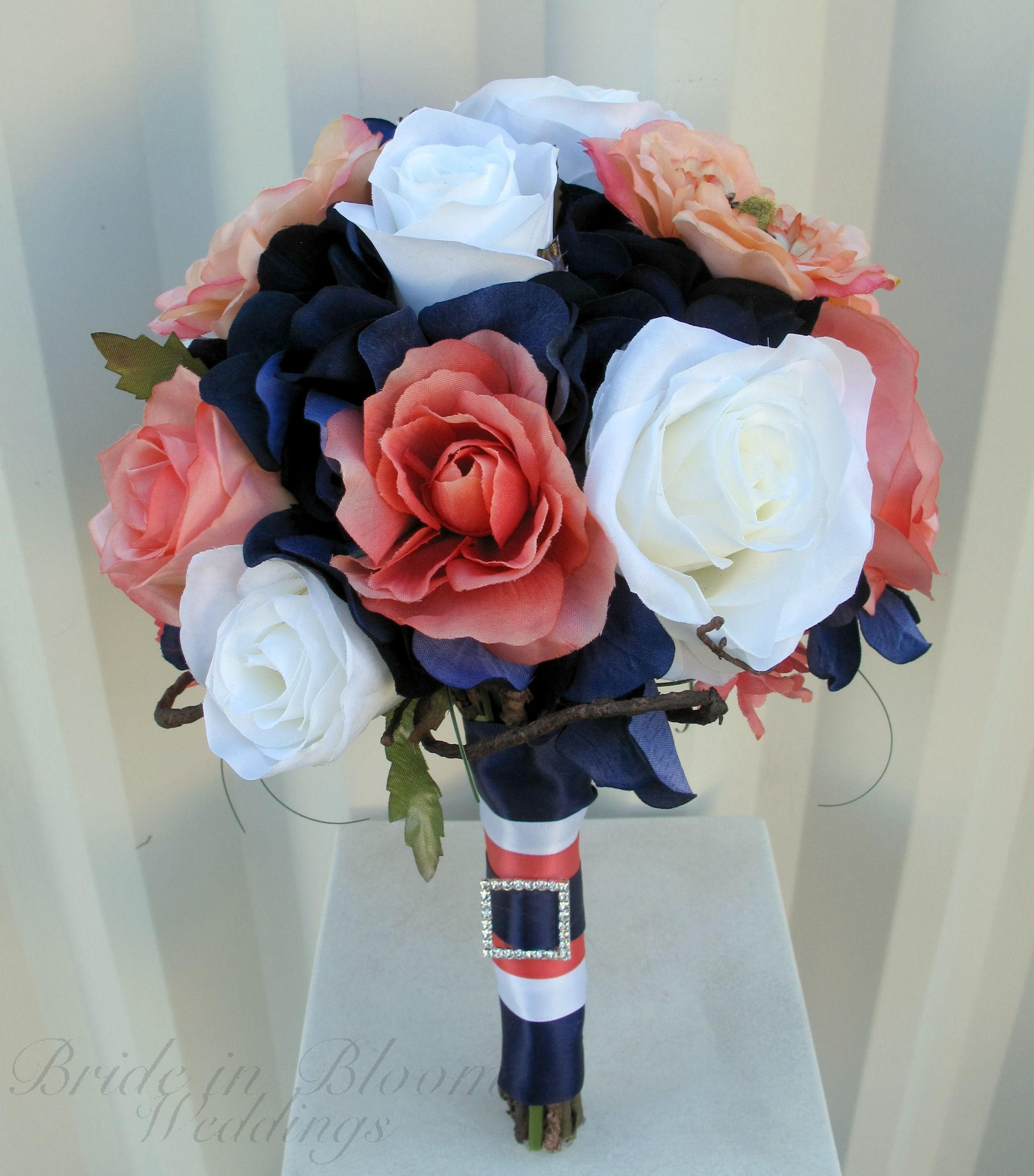 Wedding Bouquet Coral Navy White Rose Silk Bridal Flowers