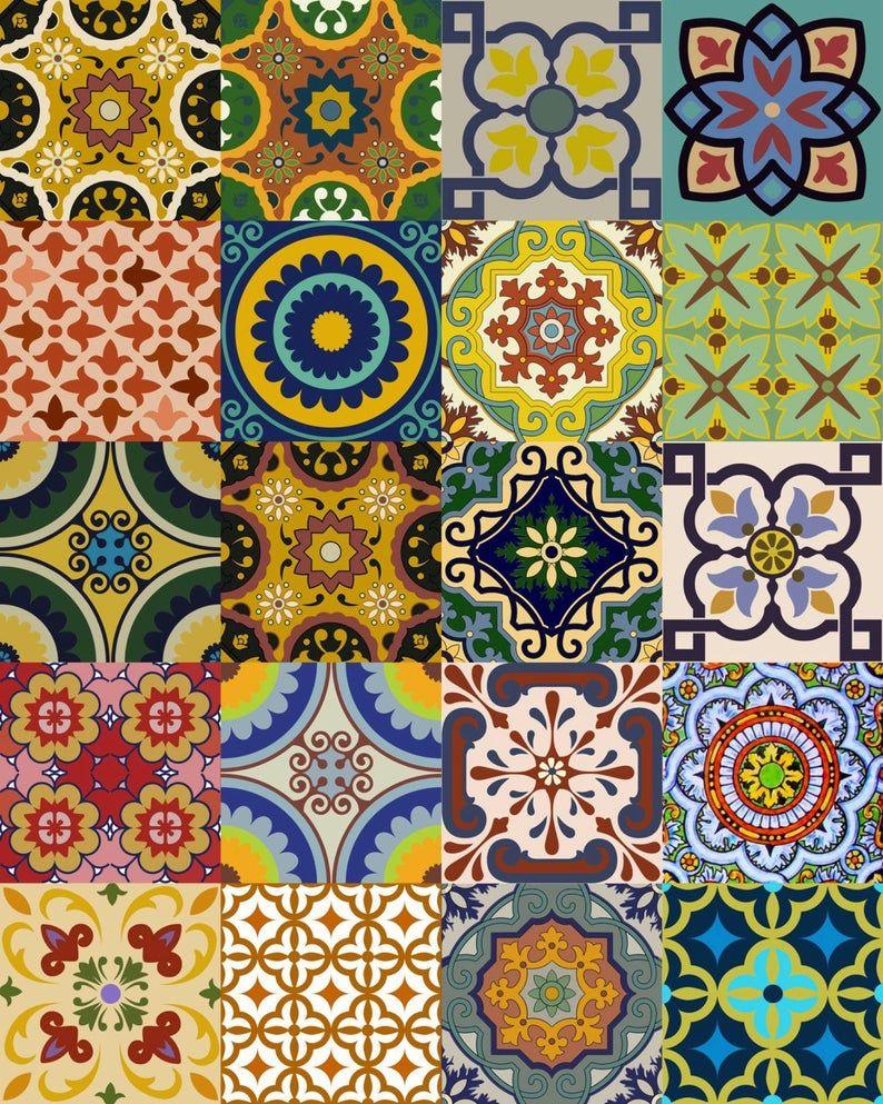 Splashback 24 Pegatinas De Azulejos Mexicanos Pegatinas De Etsy In 2020 Tile Decals Stair Decals Mexican Tile