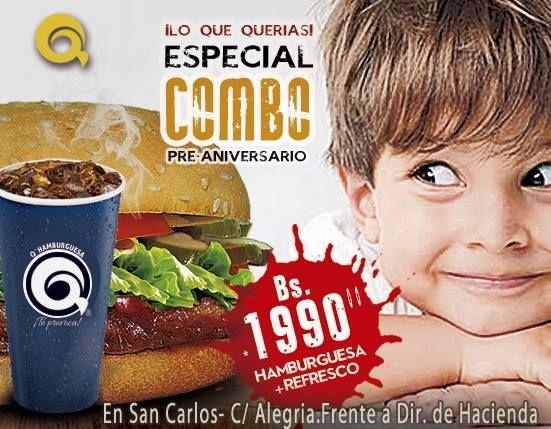 Comparte los mejores momentos #TotalmenteDiferente Busca tu QHamburguesa ha un precio incomparable por tan solo Bs.1990 con refresco. #TeProvoca http://ift.tt/2ecWMYL