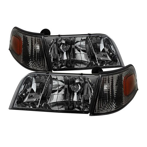 Smoked 1998 1999 2000 2001 2002 2003 2004 2005 2006 2007 2008 2009 2010 2017 Ford Crown Victoria Headlights Corner Signal Lights Left Right 98 99 00 01 02