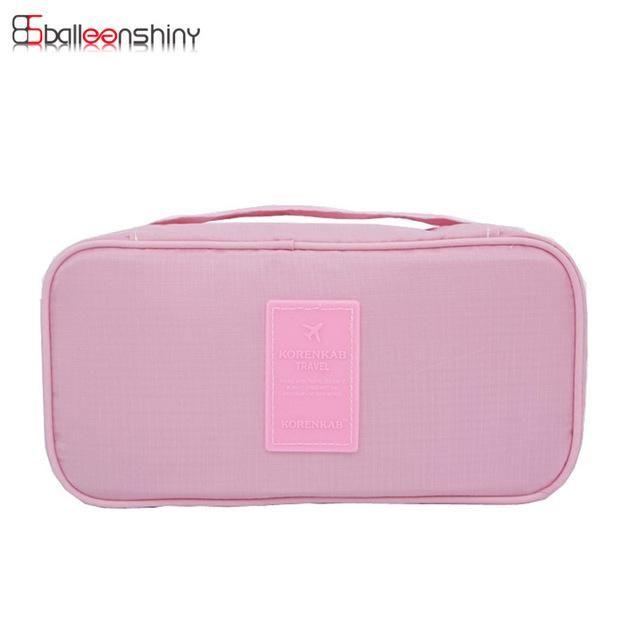BalleenShiny Women s Storage Bag Travel Necessity Accessories Underwear  Clothes Bra Organizer Cosmetic Makeup Pouch Case 457ee8d886