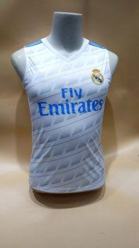 1037cc38f70 Real Madrid C.F 2017-18 Season White Los Blancos Sleeveless Jersey  J782