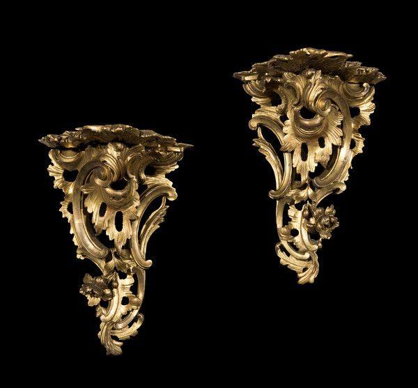 pair of 18th century george iii carved giltwood wall brackets