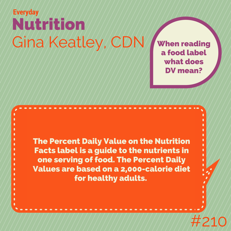 When Reading A Food Label What Does Dv Mean Everydaynutrition Nutrition Health Inspiration Dietitian Food Labels Percent Da Nutrition Diet Dash Diet