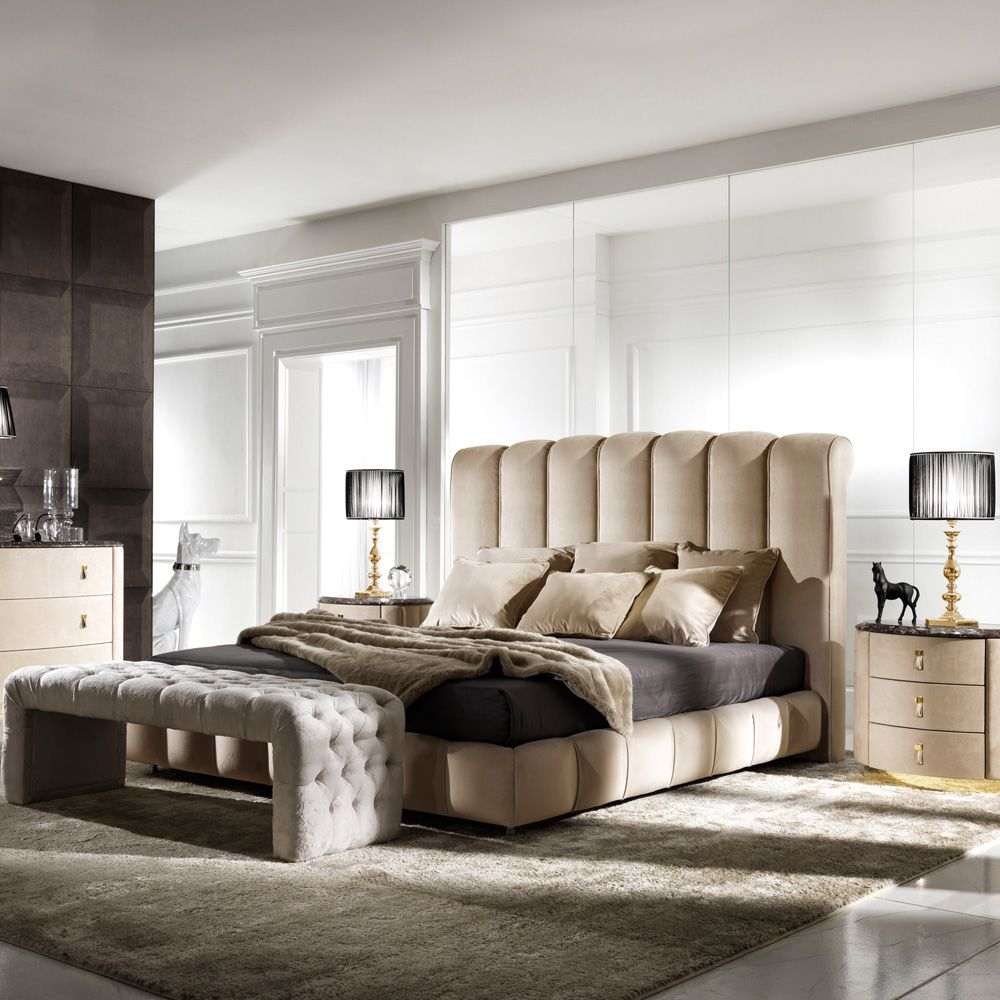 Best High End Italian Padded Nubuck Leather Bed Bedroom Bed 400 x 300