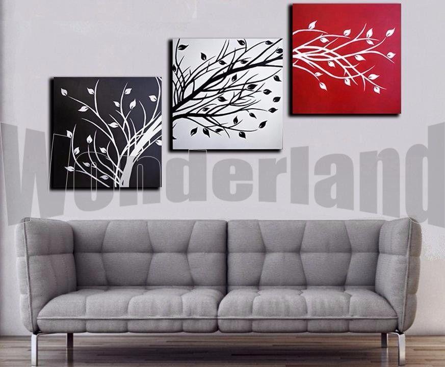 cuadros abstractos tripticos modernos pintados a mano x