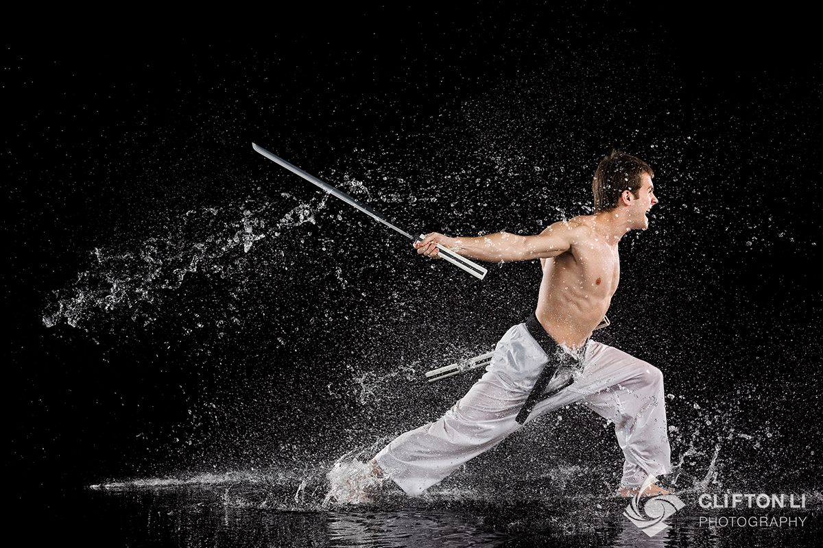 Indoor martial arts photography with water and high-speed ...
