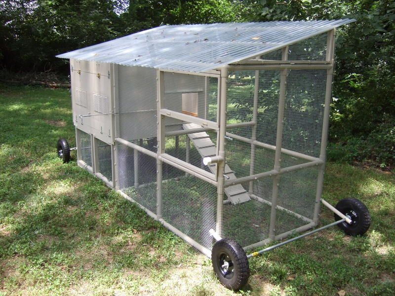 This guy framed out his coop with PVC pipe. Lots of clever ideas ...