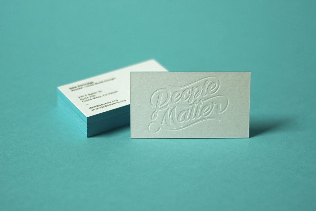 Self-promotional business cards by Sevenly w/ a black screen print ...