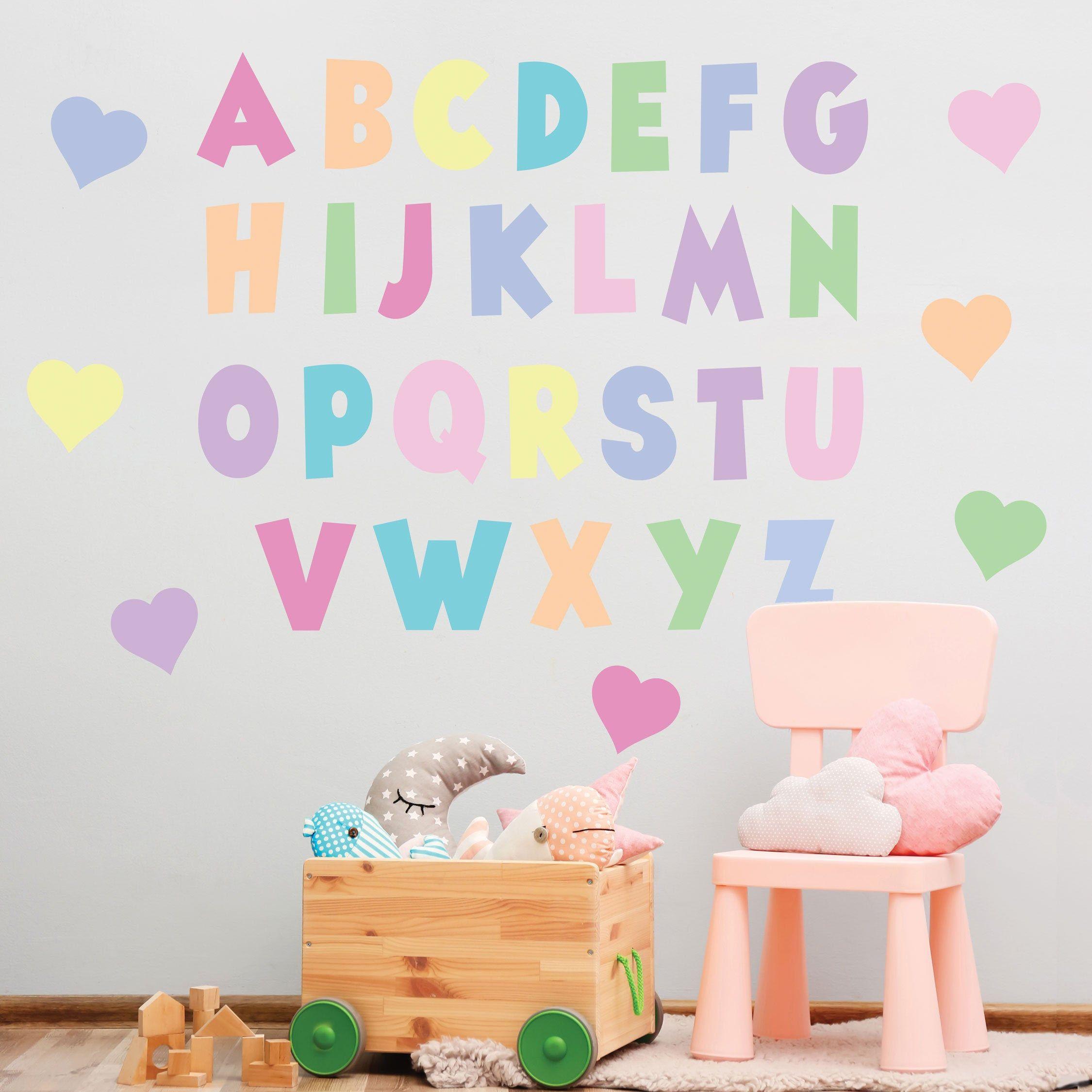 Pastel Rainbow Alphabet Wall Decals Abc S Nursery Decor Abc