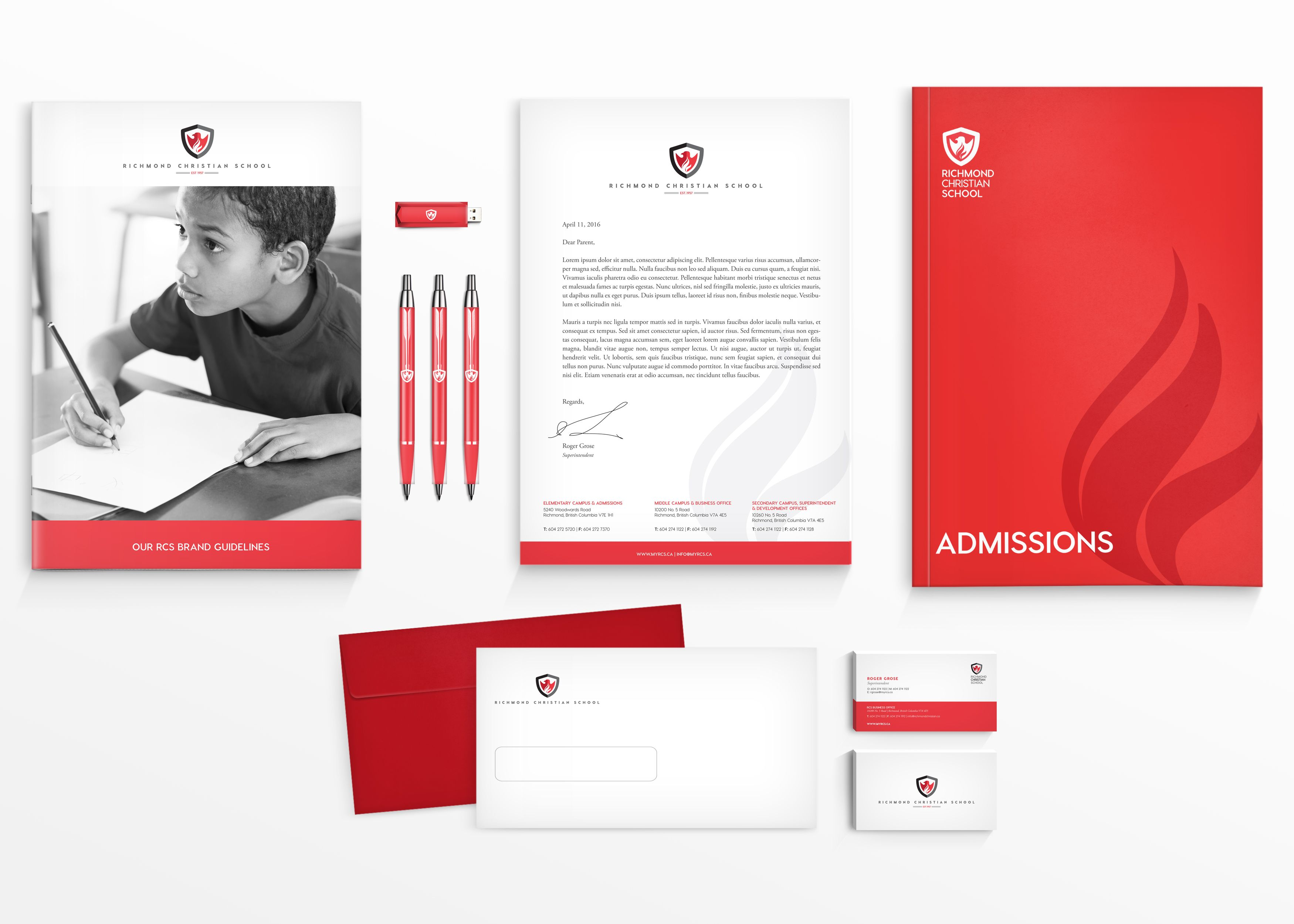 Private school visual identity package Letterhead Envelopes