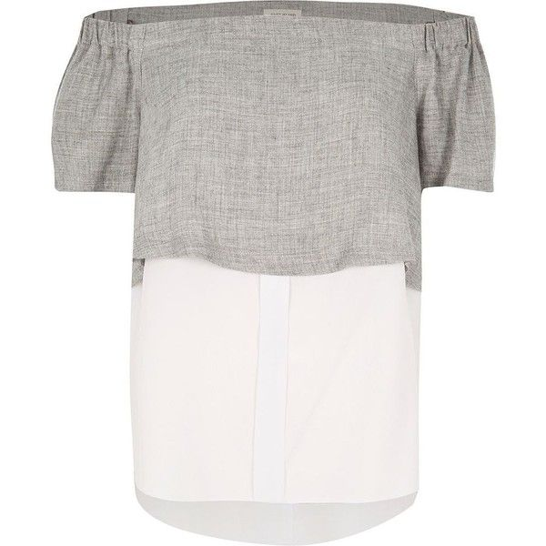 25d8caa069bd1 River Island Grey double layer bardot top ( 44) ❤ liked on Polyvore  featuring tops