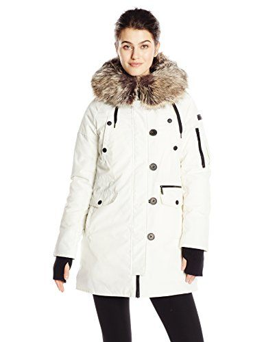 BCBGeneration Women's Parka with Faux Fur Hood, Cream, Small ...