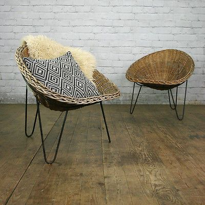 Vintage Retro Mid Century Hairpin Leg Wicker Tub Chair By Conran