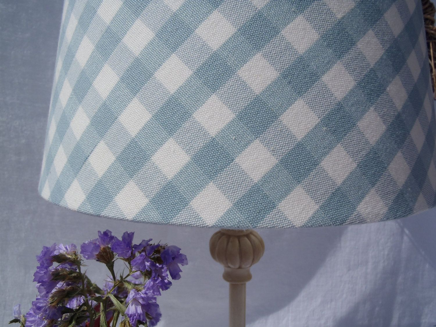 Duck egg blue gingham lampshade in laura ashley woven cotton fabric duck egg blue gingham lampshade in laura ashley woven cotton fabric by lightandbeautiful on etsy aloadofball Image collections