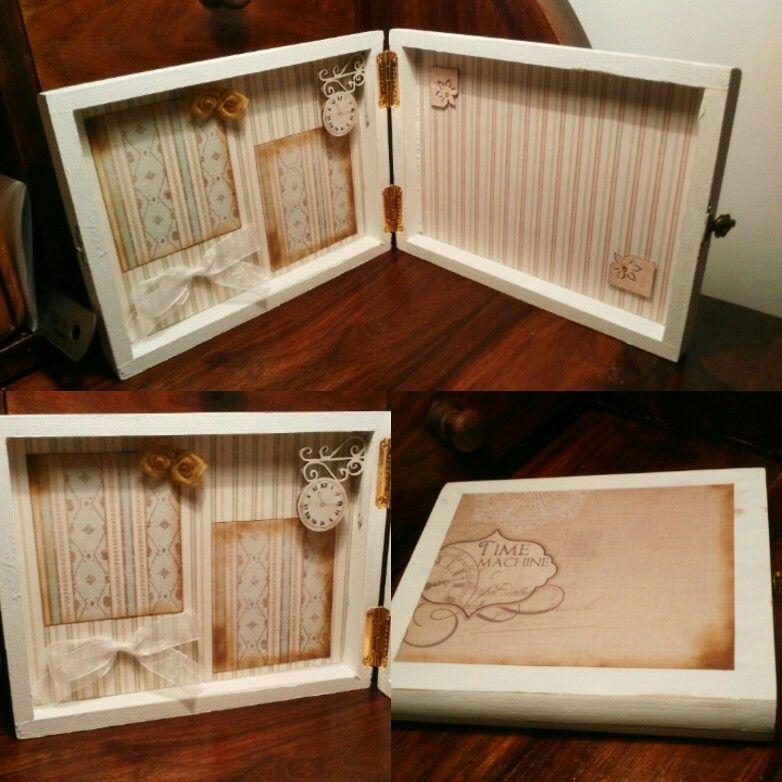 Una caja de puros que utilizaba como estuche para los rotuladores... Transformada en marco de fotos, muy original y bonito.❤ He puesto fotos de mis  mascotas, que se fueron al cielo de los animales😢