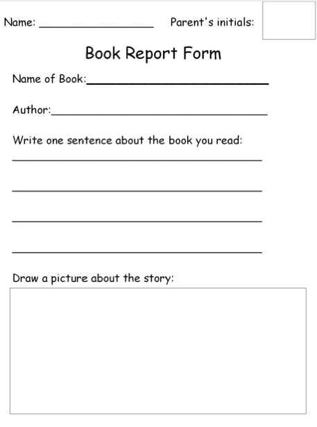 Homework Book Report Form {free download} | SPED ELA | Book report