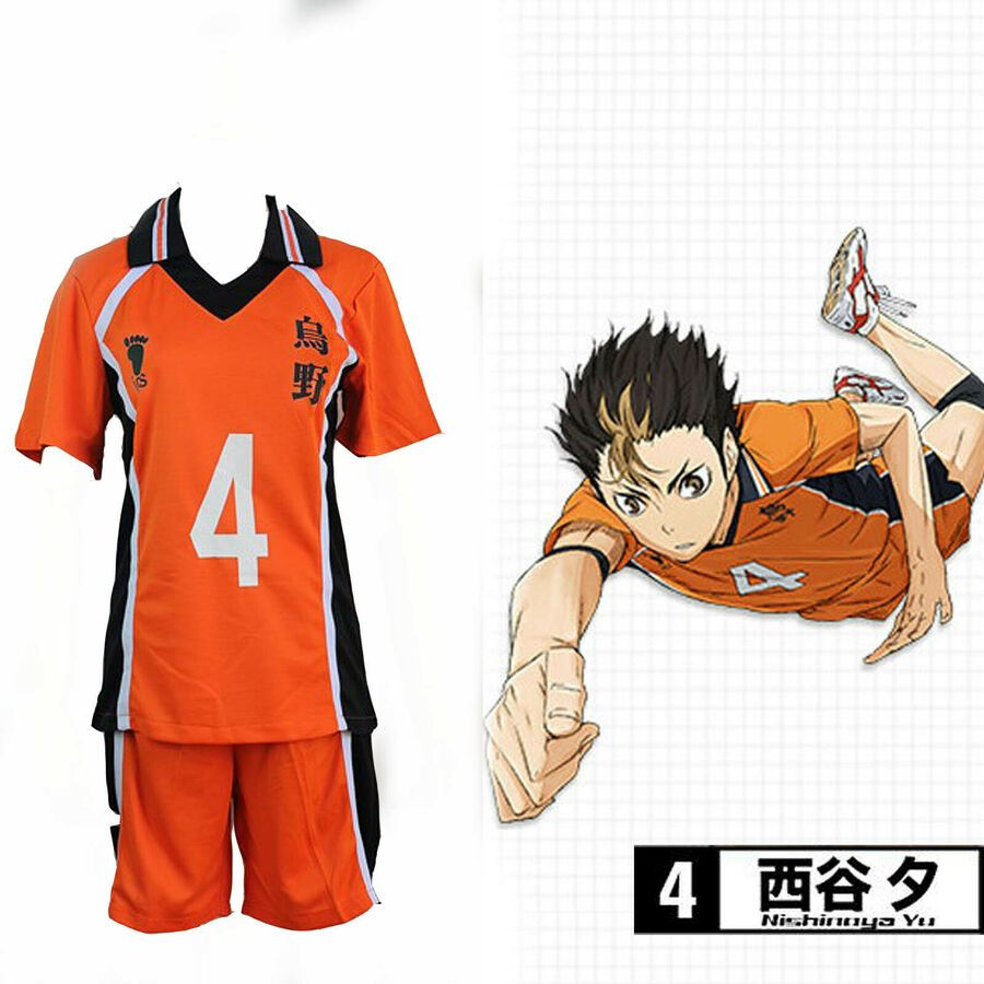 Haikyuu Karasuno High School Uniform Jersey No 4 Yuu Nishinoya Cosplay High School Uniform Haikyuu Karasuno